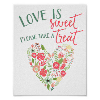 Sweet Treat Floral Heart Wedding Sign