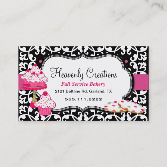 sweet treats and damask bakery business card - Bakery Business Cards