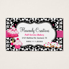 Sweet Treats And Damask Bakery Business Card at Zazzle