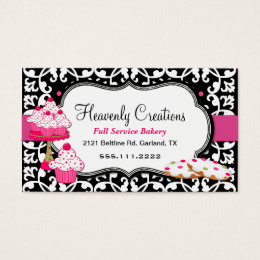 Home bakery business cards templates zazzle sweet treats and damask bakery business card reheart Choice Image