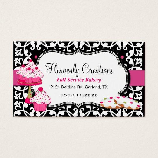 Sweet Treats and Damask Bakery Business Card Zazzlecom