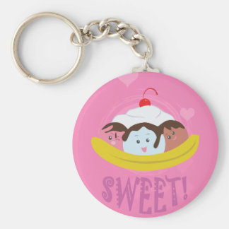 Sweet Treats - Banana Split! Basic Round Button Keychain