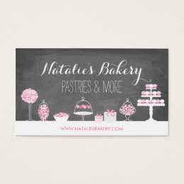 Bakery business cards 5200 bakery business card templates sweet treats chalkboard bakery business card reheart Gallery