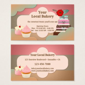 Sweet Treats Cupcakes Bakery Business Card