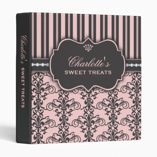 Sweet Treats Damask & Stripe Dessert Recipe Binder