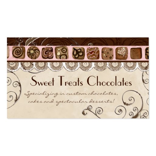 Sweet Treats Dessert Bakery Business Cards (front side)