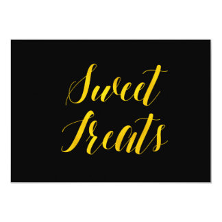"""""""Sweet Treats"""" Faux Gold Foil Chic Wedding Sign Card"""