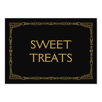 """Sweet Treats"" Gold Art Deco Style Wedding Sign Card"