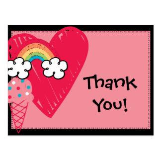 Sweet Treats Heart Rainbow Birthday Thank You Postcard
