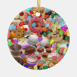 Sweet Treats Double-Sided Ceramic Round Christmas Ornament
