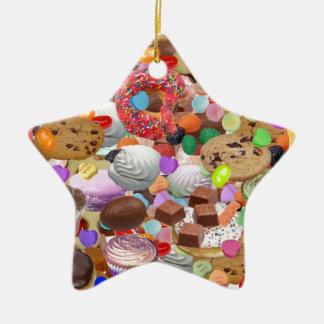 Sweet Treats Double-Sided Star Ceramic Christmas Ornament