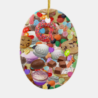 Sweet Treats Double-Sided Oval Ceramic Christmas Ornament