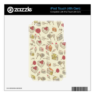 Sweet Treats Retro Pattern. Decals For iPod Touch 4G