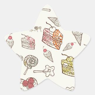 Sweet Treats Retro Pattern. Star Stickers