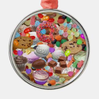 Sweet Treats Round Metal Christmas Ornament