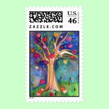 Sweet Tree Stamp - One of Lauren Alexander's original watecolor paintings on watercolor paper.