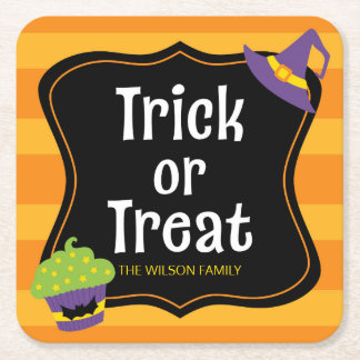 Sweet Trick or Treat Halloween Party Square Paper Coaster