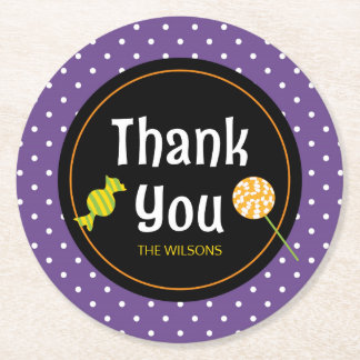 Sweet Trick or Treat Halloween Thank You Round Paper Coaster