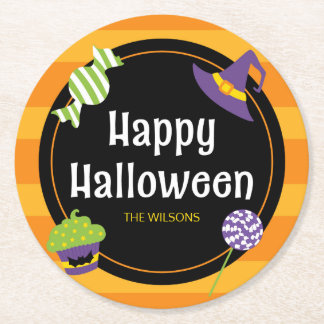 Sweet Trick or Treat Happy Halloween Party Round Paper Coaster