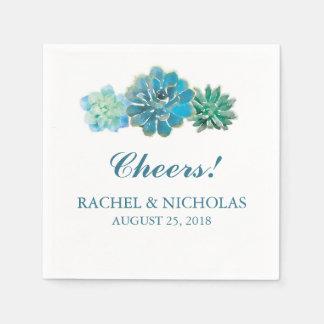Sweet Trio Succulents Watercolor   Wedding Paper Napkin