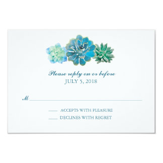 Sweet Trio Succulents Watercolor | Wedding RSVP Card