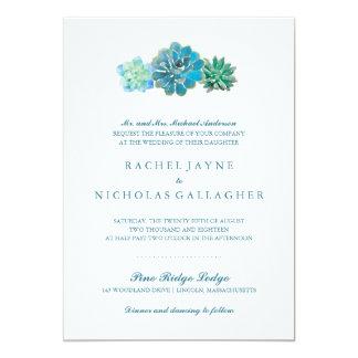 Sweet Trio Succulents | Wedding 5x7 Paper Invitation Card