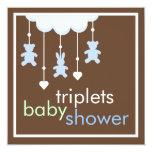 Sweet Triplets Boys Mobile Baby Shower Invitation