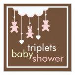 Sweet Triplets Girls Mobile Baby Shower Invitation