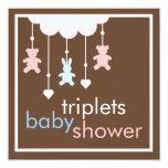 Sweet Triplets Mobile Baby Shower Invitation