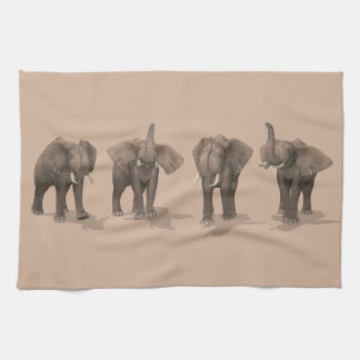Sweet Trumpeting Elephants Quartet Hand Towels