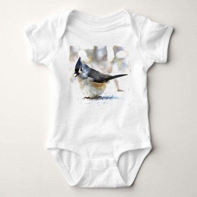 Sweet Tufted Titmouse Bird Baby Bodysuit