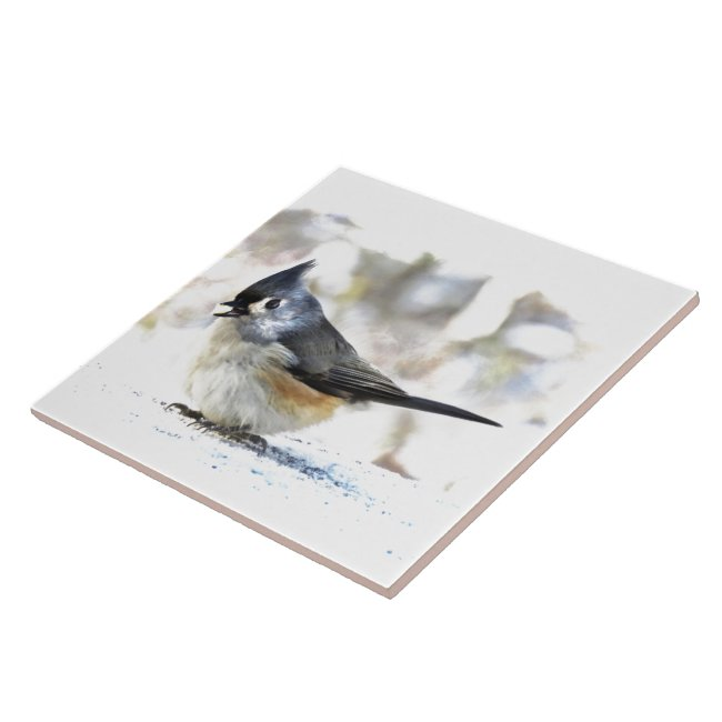 Sweet Tufted Titmouse Bird Ceramic Tile