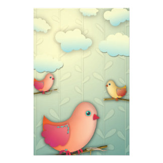 sweet tweet birds and clouds design stationery