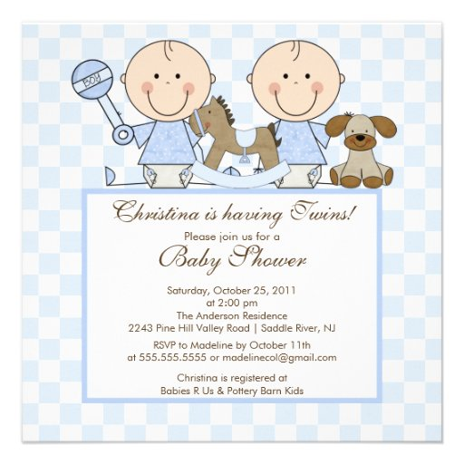sweet twin boys twins baby shower invitation square invitation