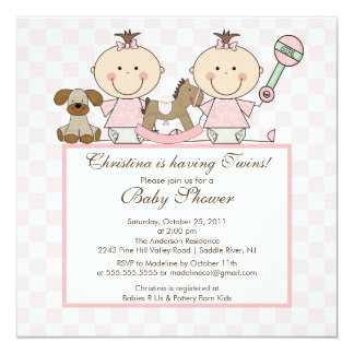 Sweet Twin Grils Twins Baby Shower Invitation