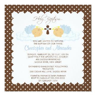 Sweet Twins Baby Boy Holy Baptism Inviation Custom Invitation