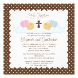 Sweet Twins Baby Girl & Boy Holy Baptism Inviation Announcements