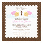 Sweet Twins Baby Girls  Holy Baptism Inviation Custom Invites
