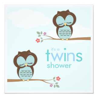 Sweet Twins Hoot Owls Boy Baby Shower Invitation