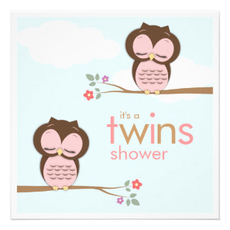 Sweet Twins Hoot Owls Pink Baby Shower Invitation
