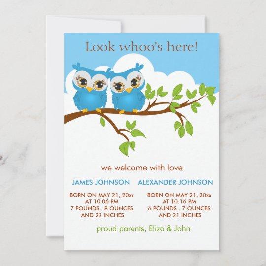 Sweet Twins Owls Baby Boy Birth Announcement Card