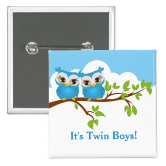 Sweet Twins Owls Boy Baby Button