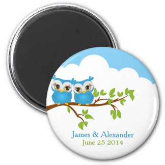 Sweet Twins Owls Boy Baby Magnet