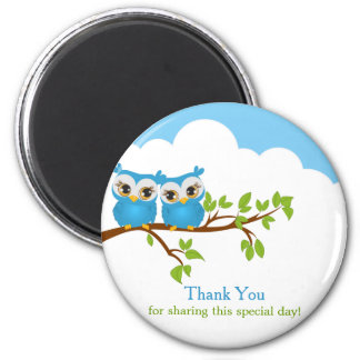 Sweet Twins Owls Boy Baby Thank You Magnet