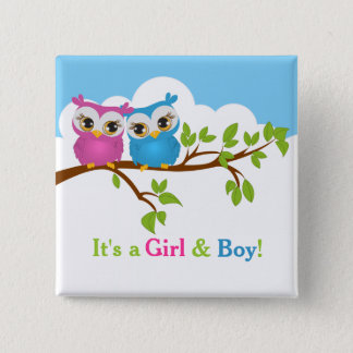 Sweet Twins Owls Boy Girl Baby Button
