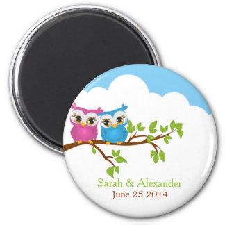 Sweet Twins Owls Boy Girl Baby Magnet