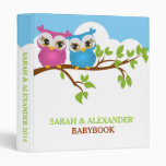 Sweet Twins Owls Boy Girl Baby Photo Album Binder Vinyl Binders