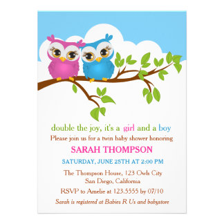 Sweet Twins Owls Boy Girl Baby Shower Invitation Personalized Invitation