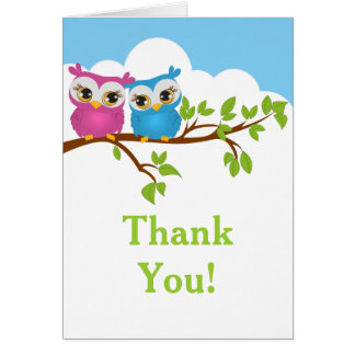 Sweet Twins Owls Boy Girl Baby Thank You Card