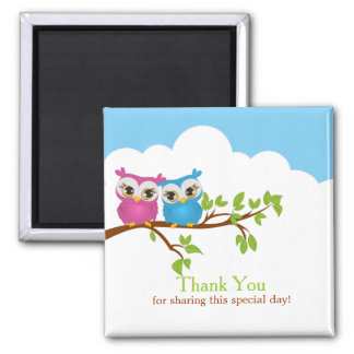 Sweet Twins Owls Boy Girl Baby Thank You Magnet